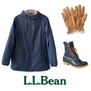 L.L. Bean Jackets & Coats - L.L.BEAN NAUTICAL NAVY FLEECE RAIN JACKET SZ XS P